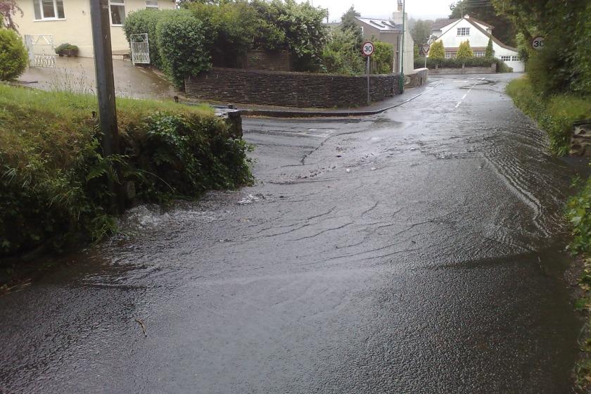 The burst main on Glen Vine Road