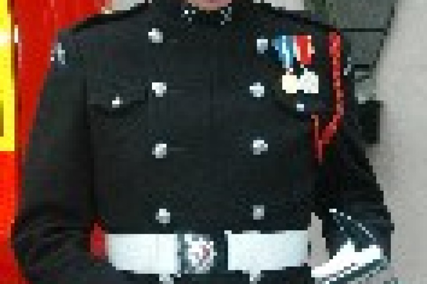 Ceremonial uniform worn by member of the IOM Fire and Rescue Service