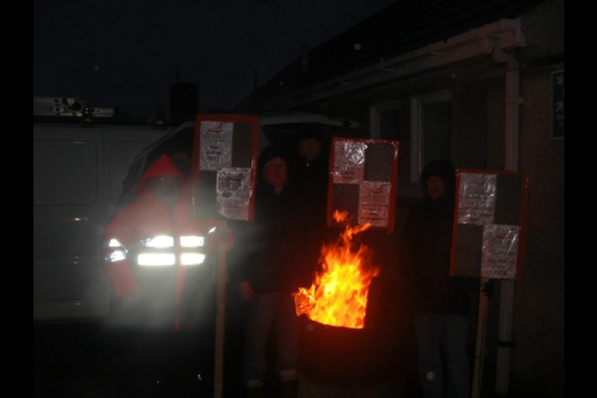 Drivers and members of the public on the picket line in Port Erin