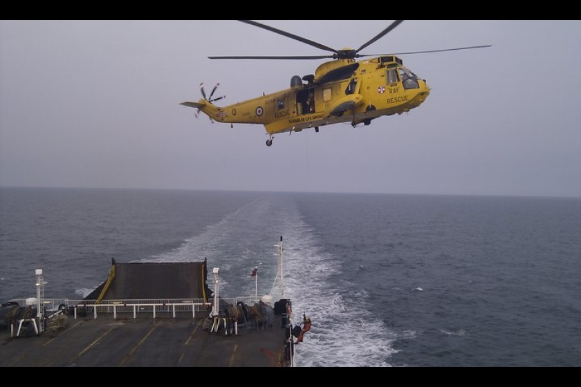 Saturday's helicopter rescue on the Ben My Chree.  Photograph by Nick Coole