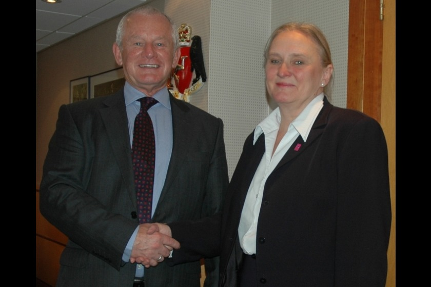 Chief Minister Allan Bell with the Estonian Ambassador