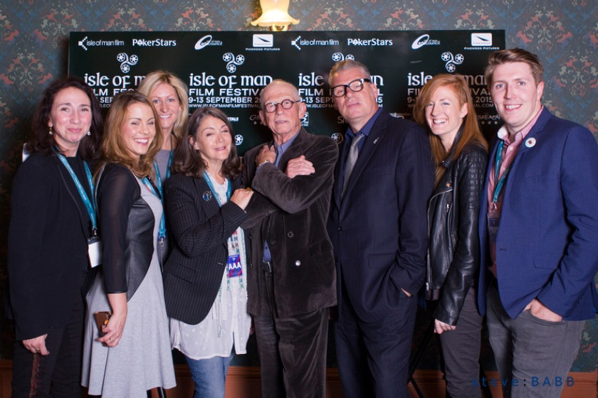 Photo credit to Steve Babb Photography: Key Film Fest organisers with guests; Sir John Hurt and critic Mark Kermode