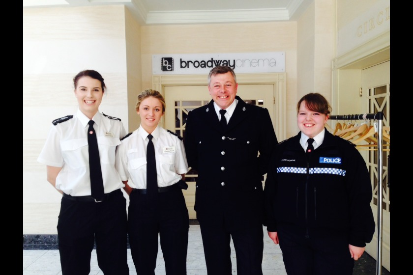 Constable Griffiths with officers and Youth Cadet Aailish Ives