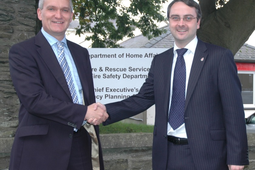 Gary Roberts and Home Affairs Minister Juan Watterson