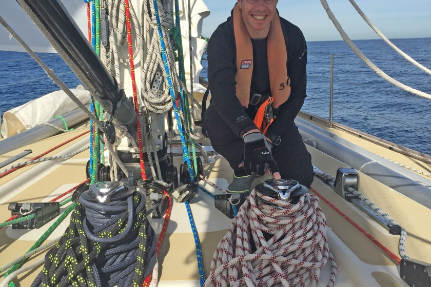 Marc Hundleby pictured in training for the Clipper Round The World Yacht Race.