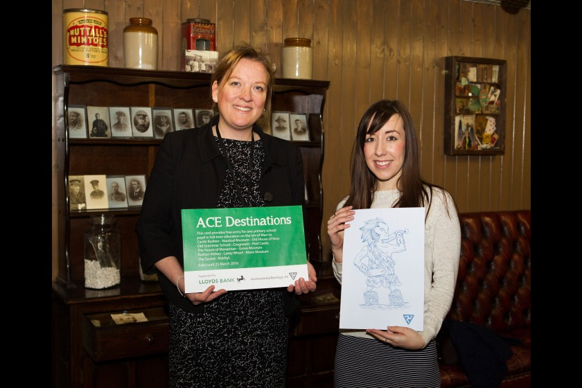 Launch of the 2015 ACE Card pictured - Lucy Felton, Business Development Manager at project sponsors Lloyds Bank, and Jade Foster, Marketing Executive at the Manx National Heritage.