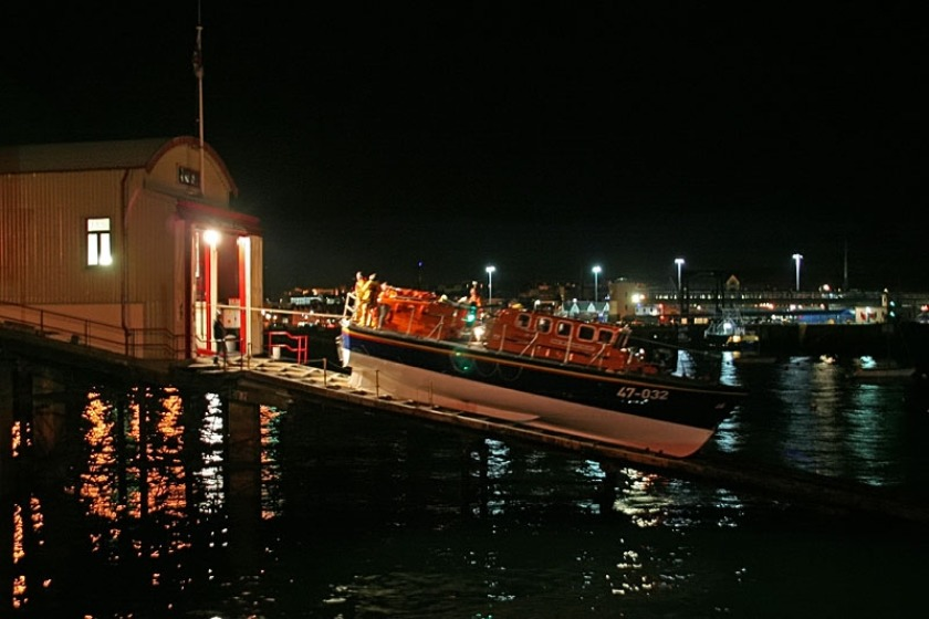 Douglas Lifeboat is launched in darkness to go the aid of a yacht