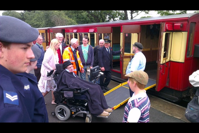 Professor Stephen Hawking at Port Erin Railway Station