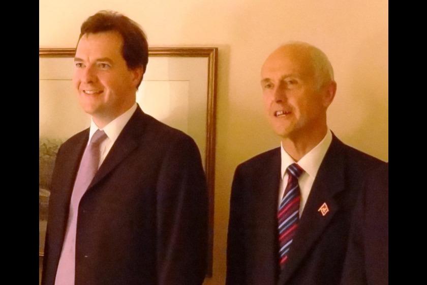 Eddie Teare (R) meets George Osborne