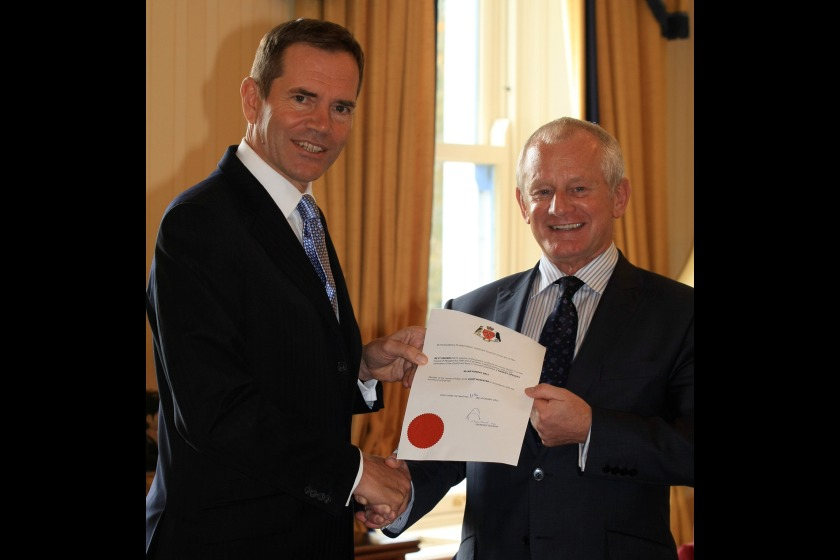 Chief Minister Allan Bell MHK (right) being formally appointed by Lieutenant Governor Adam Wood