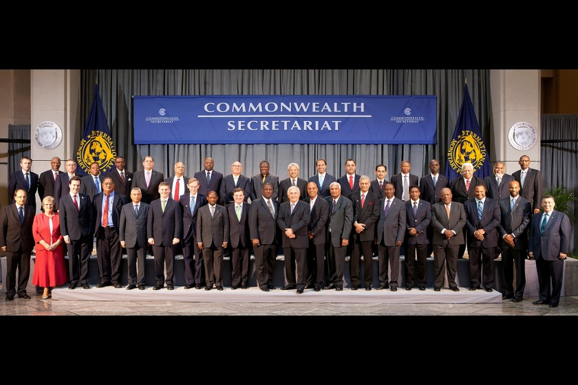 Anne Craine MHK (second from left in the front row) with other finance ministers from the Commonwealth