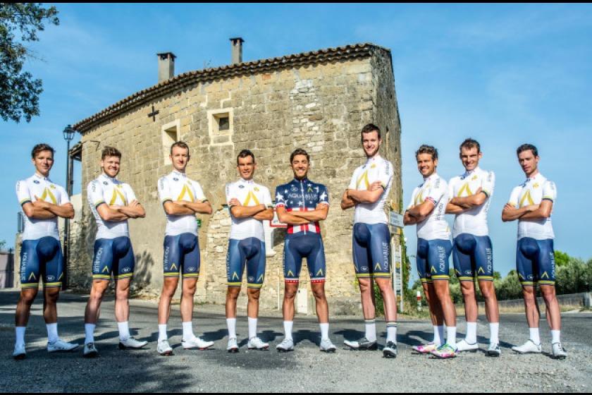 Mark Christian (third from left) alongside his Aqua Blue Sport teammates for the Vuelta a Espana