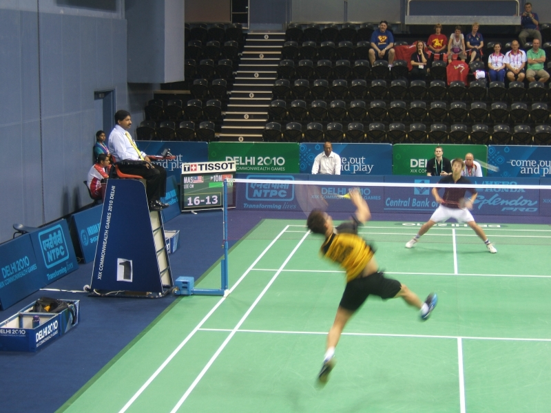 The Isle of Man's John Green playing number 1 seed Lee Chong Wei of Malaysia
