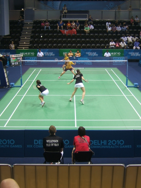 Manx duo Kim Clague and Cristen Callow playing Liu Ying Goh and Khe Wei Woon in the match against Malaysia