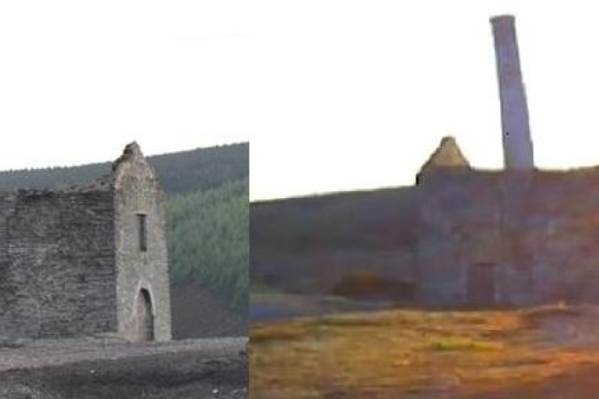 Left: The mine site as it looks today. Right: A picture of the site taken just  a few days earlier