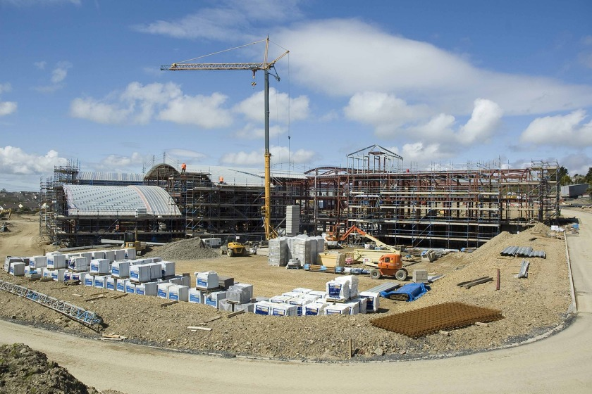The new school under construction in May last year