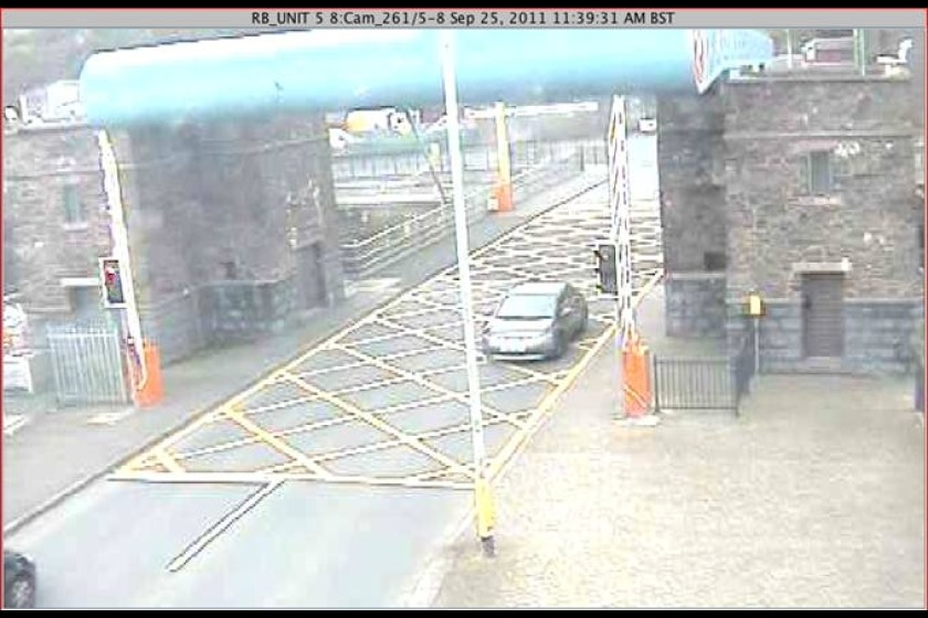 CCTV from the lifting bridge shows a car ignoring the red light