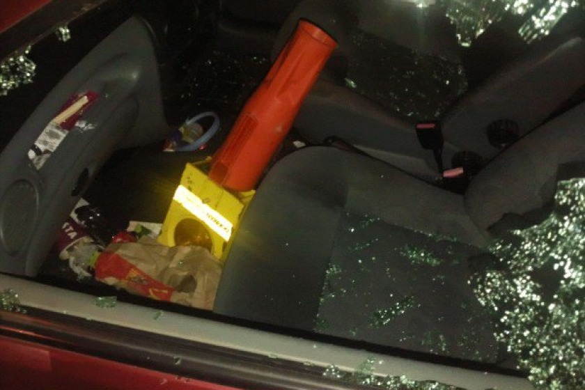 Part of a traffic cone was thrown through the window
