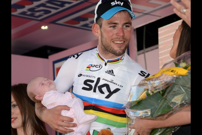 Mark Cavendish with daughter Delilah on the podium after stage 3 (picture courtesy of Team Sky)
