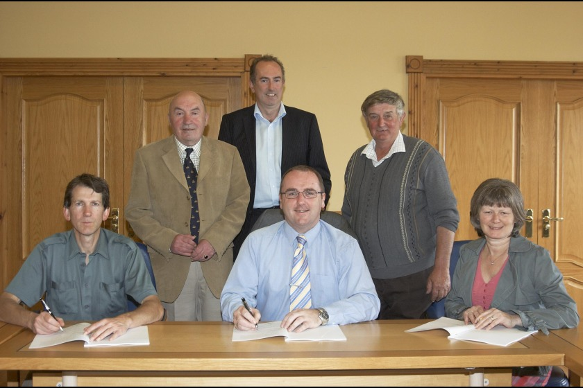 Seated left to right: Andrew Jessopp from Braddan commissioners, Douglas Council Leader David Christian and Chairman of Onchan Commissioners June Kelly.  Standing left to right: Chairman of Santon Parish Commissioners Norman Kelly, Brian Byers from Lonan Parish Commissioners amd Laxey Village Commissioners Chairman Jeff James