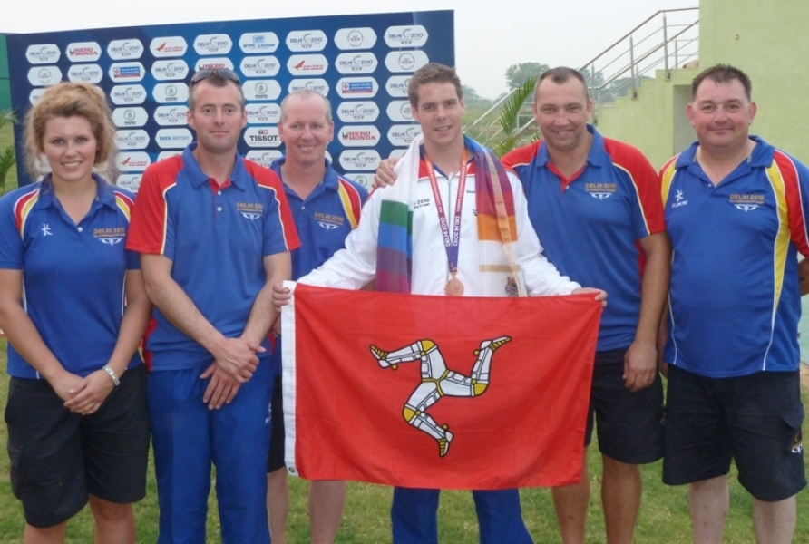 Tim Kneale with the Island's clay shooting team