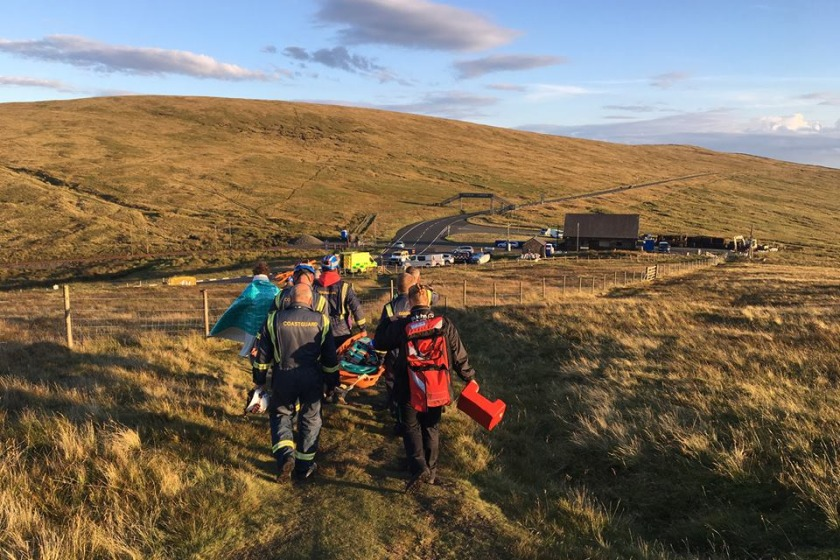 The rider was able to walk to the ambulance after the coastguard arrived.