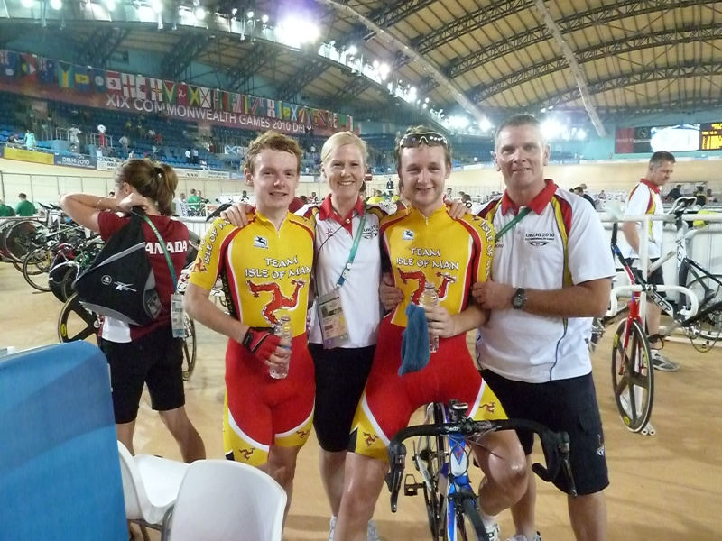 Chris Whorral and Mark Christian with their coaches