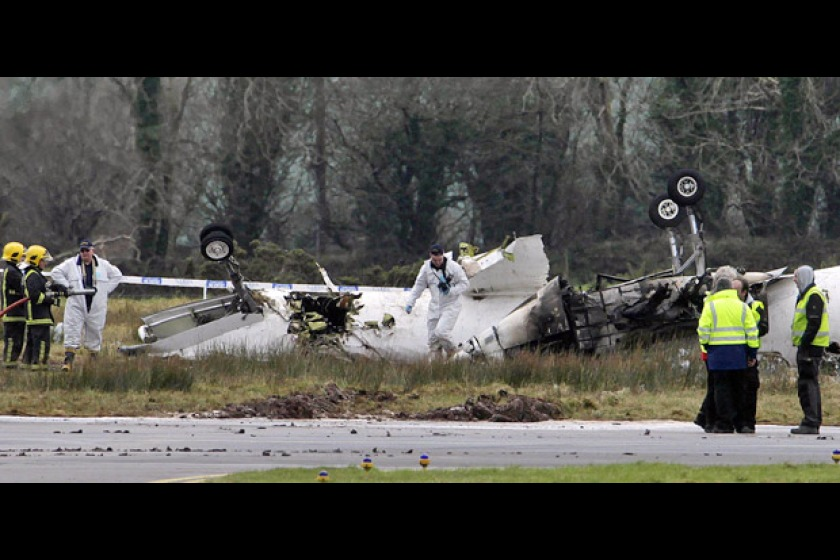 The scene of the fatal crash at Cork Airport (picture from Sky News)