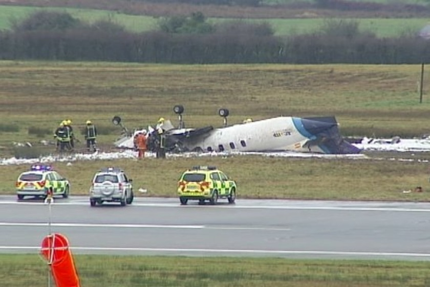 The Manx2 aircraft overturned on runway - Pic Sky/Vincent Foely