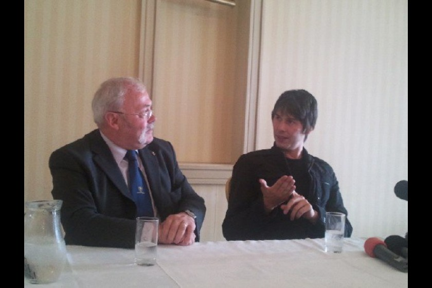 Chief Minister Tony Brown (left) with Professor Brian Cox (right)