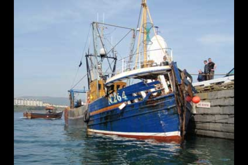 FV Lynn Marie moored in Port St Mary after the collision (picture from portstmarylifeboat.org.im)