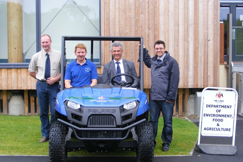 The new Polaris Ranger EV with (from left to right) Director of Forestry Andrew Sidebottom, Barry Dawson from Motors and Mowers, Chairman of the Forestry Directorate Tim Crookall MHK and Political member for DEFA Juan Turner MLC