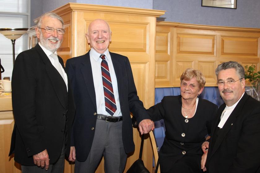 Derek and Joy Brown with former Tynwald President Noel Cringle and Steve Rodan (photo from Paul Dougherty, Tynwald Seneschal)