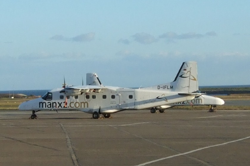 A Dornier 228 aircraft in Manx2 livery