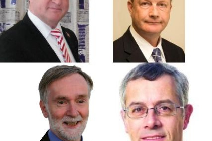 The candidates for Douglas North; Theo Fleurbaay (top left), Bill Henderson (top right), Peter Hill (bottom left) and John Houghton (bottom right)