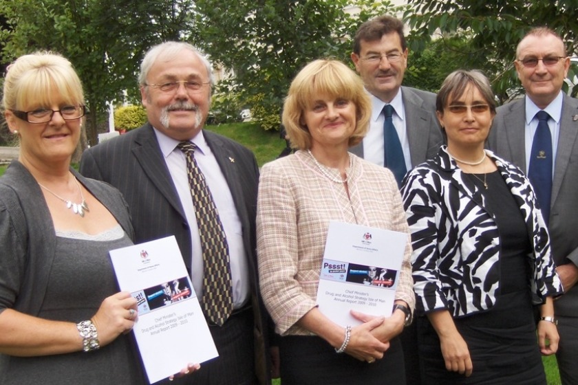 At the publication of the annual report; Sue Perry from the Drug and Alcohol Team, Chief Minister Tony Brown, Director of Drug and Alcohol Policy Margeret O'Reilly,  Home Affairs Minister Adrian Earnshaw, public health specialist Dr Andreea Steriu and political member with responsibility for the strategy Bill Malarkey MHK