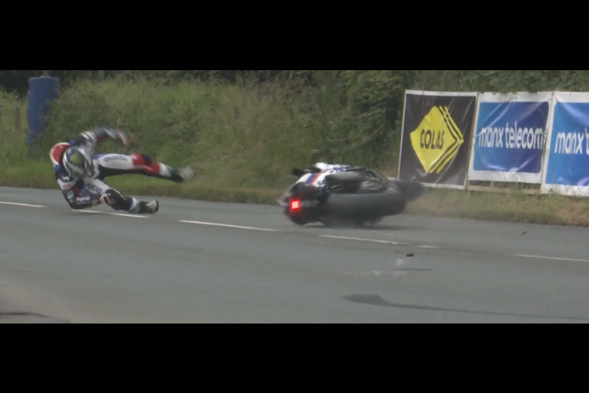 BBC NI / Dunlop crashes out at Castletown Corner