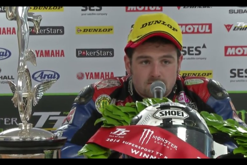 Michael Dunlop speaking after his win