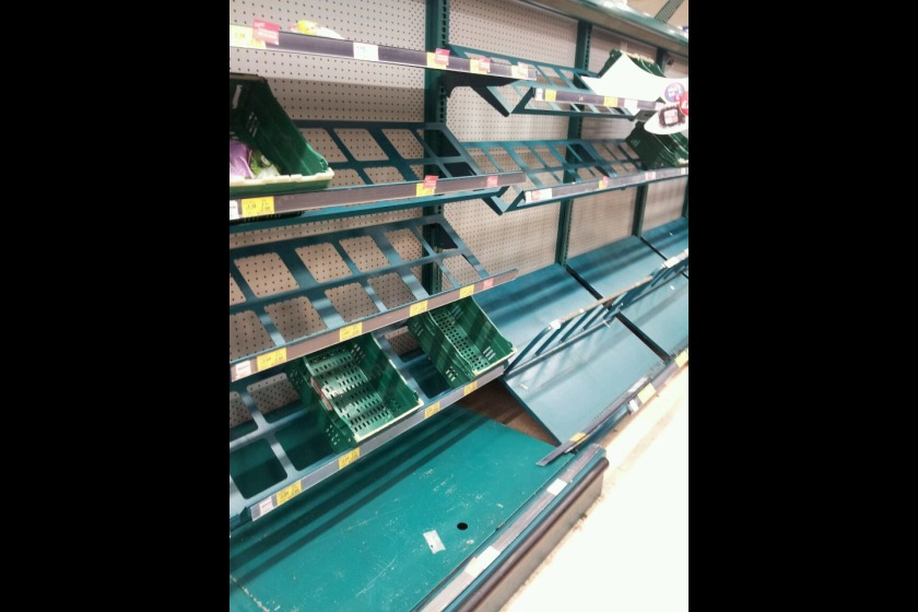 The fruit and veg aisle in Tesco last week was left bare as sailings were cancelled