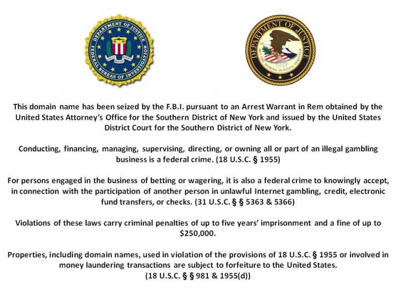 The FBI notice on www.pokerstars.com website (16/4/11)