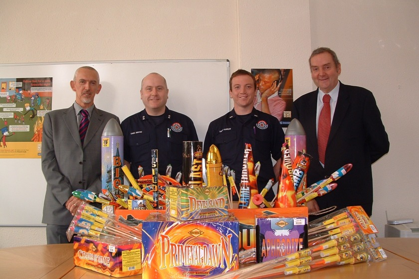From left to right: Crime prevention officer Mike Radcliffe, Fire prevention officer Carl Kinvig, leading firefighter David Cowley and OFT technical officer Mike Buss