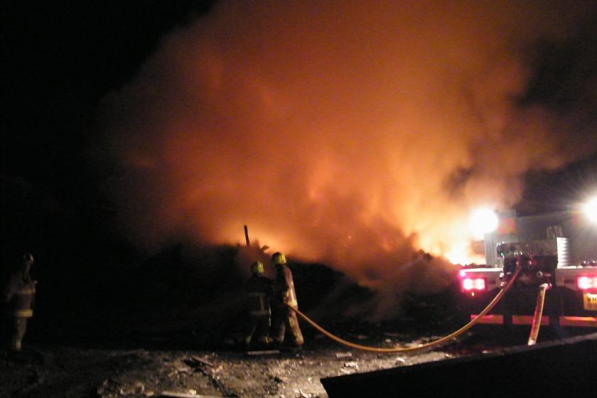 Fire crews tackled the blaze last night
