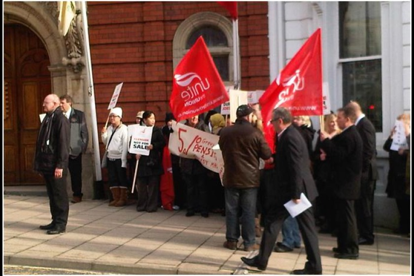 Staff from Glenside protested over the closure outside the House of Keys yesterday