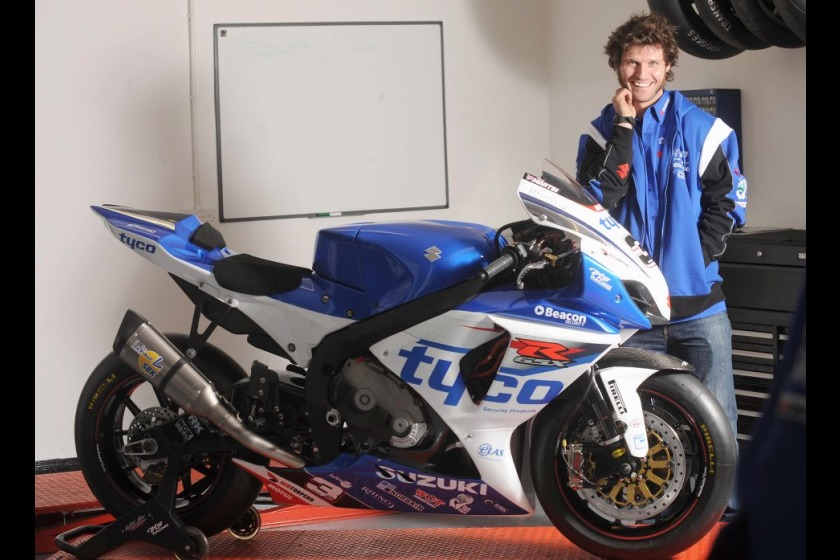 Guy Martin with the 2012 Tyco Suzuki machine