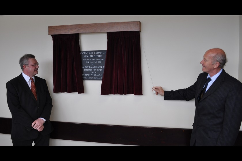 Social Care Minister Martyn Quayle (left) and Health Minister David Anderson (right) open the new facility