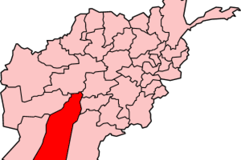 Helmand Province, highlighted in a map of Afghanistan