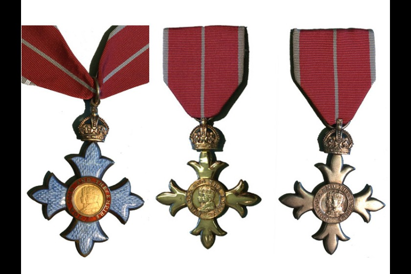 A CBE, OBE and MBE medal