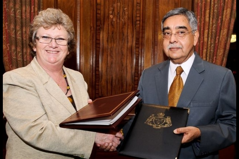 Treasury Minister Anne Craine with High Commissioner Nalin Surie