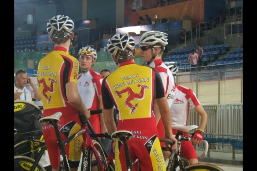 The Isle of Man track cycling team in Delhi