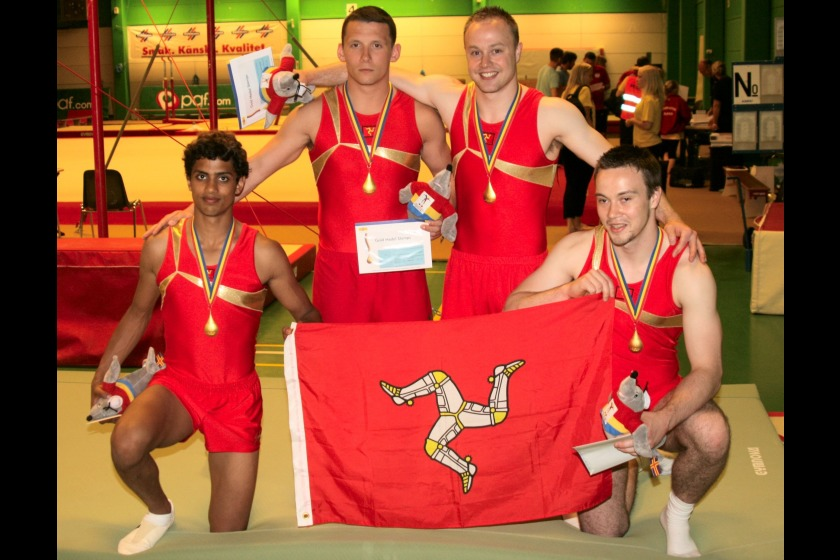 Joe Smith as part of the Isle of Man gymnastics team which took part in the 2009 Island Games